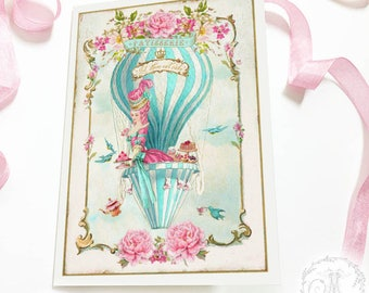 Marie Antoinette card, birthday card, friendship card, high tea in a hot air balloon, let them eat cake, blank inside