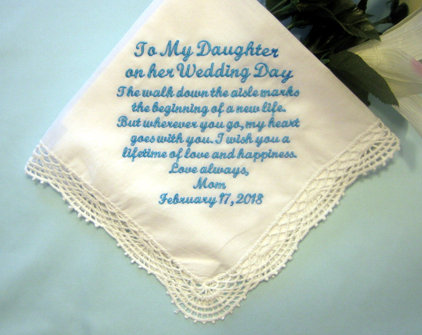 What To Gift A Friend On Her Wedding: Mother To Daughter On Her Wedding Day Handkerchief 208S