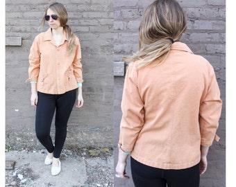1990's True Grit Western Style Denim Jean Jacket in Women's Medium Burnt Orange Peach Collar Cuffs Cuffed Hipster Flair