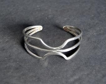 Modernism Silver Cuff -Vintage Jewelry Elegant Bracelet Present for Her