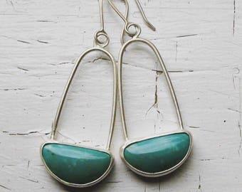 Handmade American Kingman Turquoise and Sterling Silver Earrings