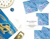 Indigo + Fuschia Marble Calling Cards | Business Cards | Blogger Cards | Set (50)