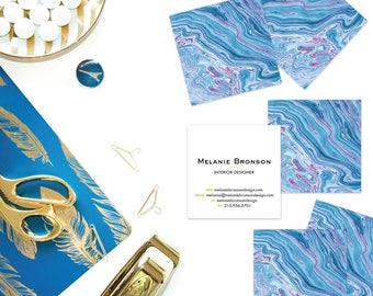 Indigo + Fuschia Marble Calling Cards | Business Cards | Blogger Cards | Set (50)