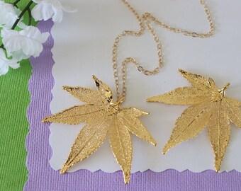 Gold Maple Leaf Necklace, Real Leaf Necklace, Japanese Maple Leaf, Gold Leaf Necklace, Long Leaf, Leaf Pendant LC224