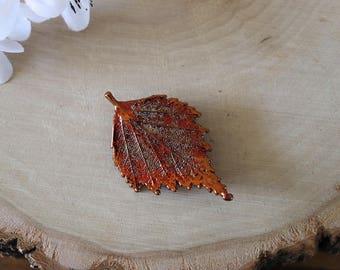 Maple Leaf Brooch Copper, Full Moon Maple Leaf Pin, Real Leaf, Copper Leaf, Orangic pin, Nature, BROOCH45