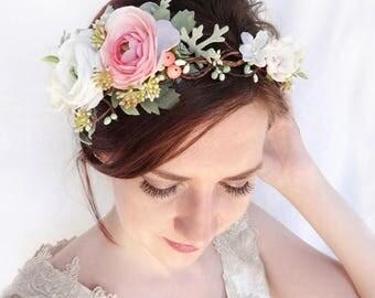 flower crown wedding, bridal flower crown, bridal flower headpiece, floral crown wedding, pink flower crown, ivory flower crown, berries