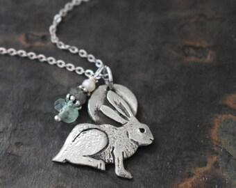 Gemstone and Rabbit Necklace