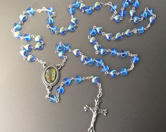 Rosary with Blue Glass Heart Beads - 1950s Rosary - Made in Italy - Pray for Us - Aurora Borealis AB finish beads