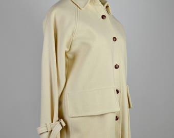 Vintage Jacket,  Single Breasted, Beige & Brown, Wool Jacket, Preppy Jacket, Rockabilly Clothing, Winter Jacket, Short Coat, Hepburn Style