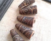 Dusty Denim Blue and Burnt Umber - Batik Cone Beads - hand painted rustic patterned cone pendants boho chic polymer clay (ready to ship)