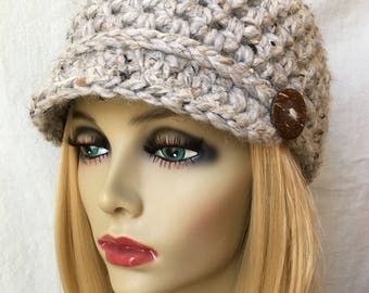 Crochet Woman Hat, Newsboy, Grey Marble, Chunky Wool, Holidays, Christmas Gifts Under 40, Gifts for her JE808N16