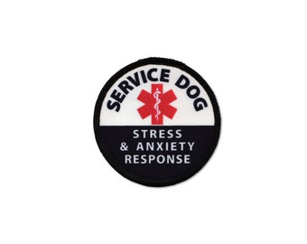 Service Dog Stress and Anxiety Response Medical Alert Round Black Rim Sew-on Patch (Choose Size)