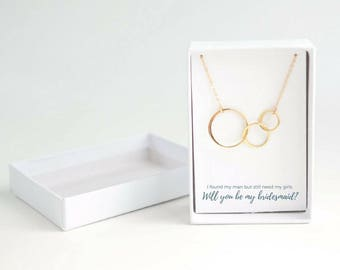 Bridesmaid Gift Ideas - Will You Be My Bridesmaid - Bridal Party Gifts - Bridesmaid Proposal - Gift from Bride - Gold Circle Necklace