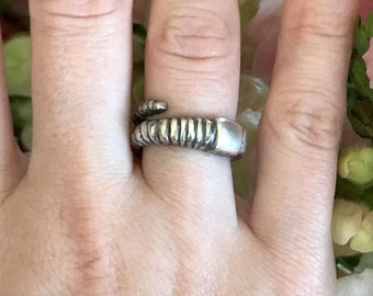 Earthworm Ring in Oxidized Sterling Silver