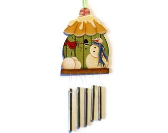 Snowman on Birdhouse Wind Chime Ornament, Handpainted Wood, Hand Painted Winter Decor, Tole Decorative Painting