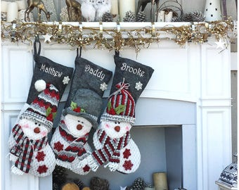 Children's Snowman Personalized Stockings Burgundy Grey Cozy Winter Christmas Stockings for Kids Burgundy Red Gray Snowman Holiday Stockings