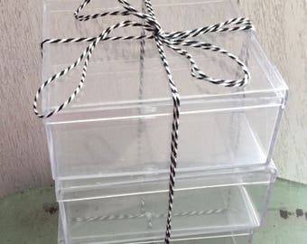"Small Clear Plastic Boxes, 3-3/4"" X 3-3/4"" Square Rigid Plastic Boxes, Set of 3, Small Gift, Miniature, Storage Boxes, Clear Box With Lid"