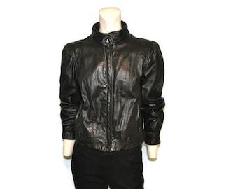 Vintage 1980's Leather Bomber Jacket Women's Black Zip Up Leather Coat Biker Rocker Size 7/8 Small by FOXMOOR Genuine Leather 1980's
