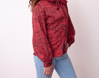 Vintage Abstract Print Blouse - Red Long Sleeve Blouse - VTG 1980s Black and Red Top - Thirty Six East - Size Medium Large - Gift for Her