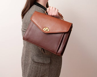 Vintage Brown Handbag with Short and Long Handles - Vtg Brown Purse - Paris Roma Tokyo - 1970s Accessories - Gift For Her