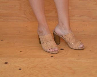 Very Cool Vintage 90's Tan Cork Slip On High Heel Sandals With Peep Toe Fits Like A 9.5