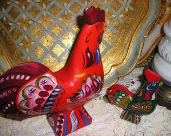"Vintage Swedish Dala Roosters 8 1/2"" Colourful Wood Carved Traditional Scandinavian Folk Art.."