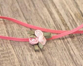 Pink baby headband, flower headband, girls headband, photo prop