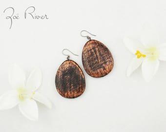 Surgical stainless steel earrings. Copper black wood earrings. Lightweight large earrings. Nickel free, lead free earrings. Rustic earring