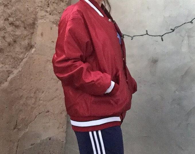 Stanford Bomber | burgundy satin striped vintage 80s maroon snap up baseball jacket mens collegiate coat sportswear athletic large L unisex