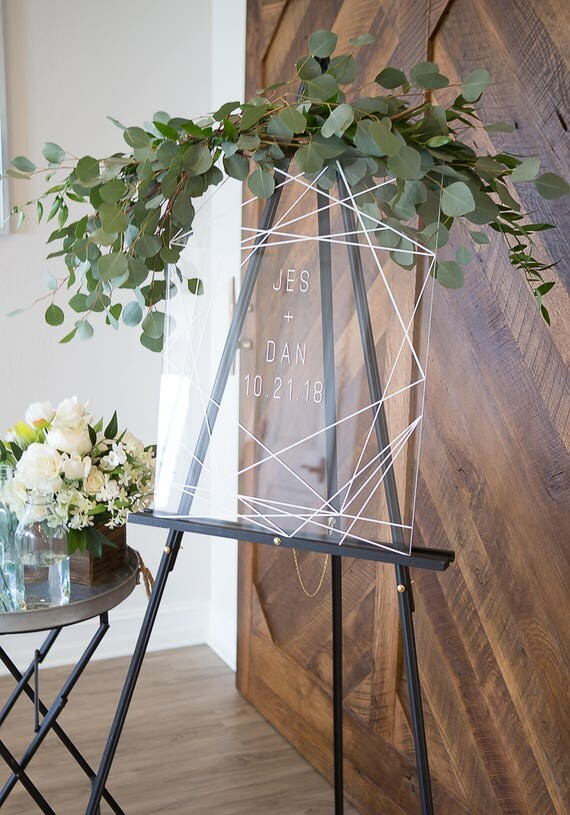 wedding sign clear acrylic glass look welcome sign geometric