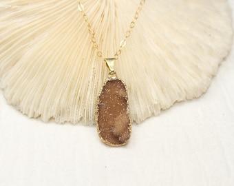 Brown Druzy Necklace, Druzy Jewelry, Drusy Pendant, Gemstone Necklace, Geode, Drusy