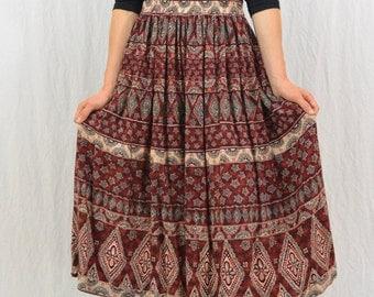 Vintage Midi Skirt, Bohemian, Size Medium-Large, Hippie Skirt, Gypsy, 90's Clothing, Festival Clothing, Witch
