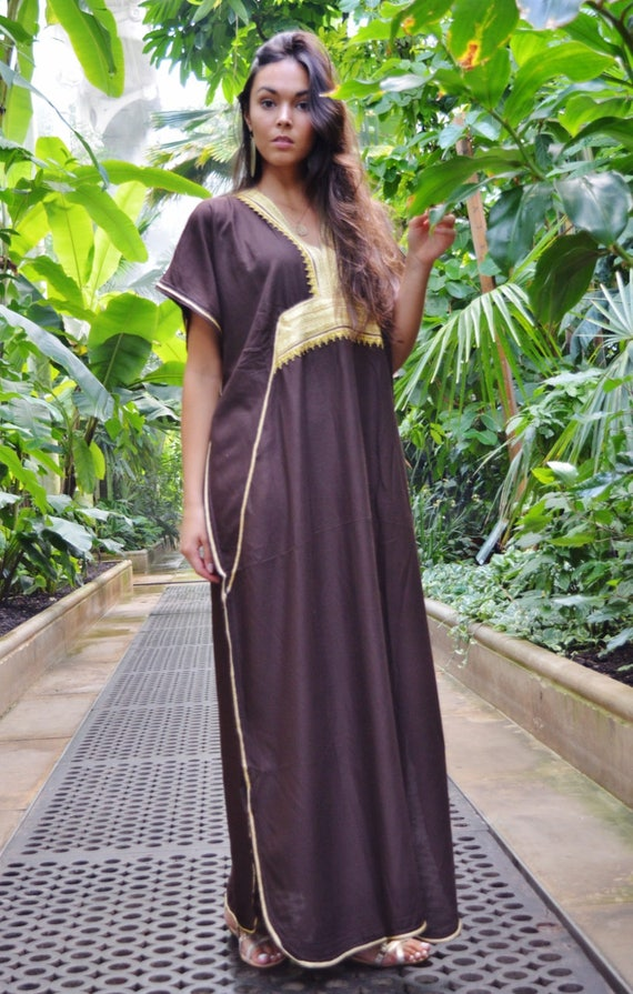 Kaftan dress, Caftan, Brown & Gold Marine Marrakech Kaftan, Beach dress, beach cover ups, resortwear, beach kaftan, maternity kaftan