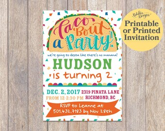 Fiesta Invitation, Mexican Birthday Invitation, Fiesta Birthday Invitation, Mexican Party Invitation, First Birthday, Taco Bout a Party