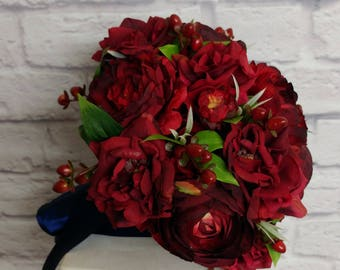 Red ranunculus wedding bouquet, Silk wedding flowers, Brides bouquet Winter weddings