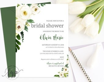 Greenery Bridal Shower Invitation Watercolor Floral Bridal Shower Invite