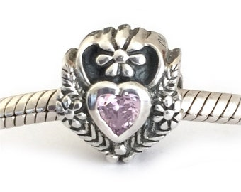 Heart Charm Bead Large Hole Sterling Silver Pink Cubic Zirconia