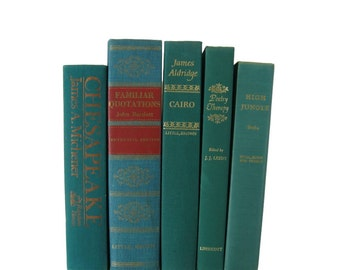 Farmhouse Decor, Green Decorative Books, Books by Color, Book Home Decor,  Vintage Books,  Housewarming Gift, Turquoise Books