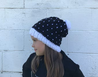 Snowfall Black and White crochet hat, fits 6 months to womens, white and black hat, pom pom, slouchy hat, Winter Beanie, Photo Prop, fall