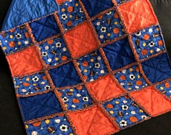 Sports Balls Baby Rag Quilt Handmade One Of A Kind Baby Rag Quilt Baby Crib Nursery Shabby Chic Quilt  1