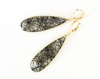 Gold Tourmalinated Quartz Earrings