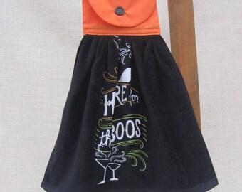 "Halloween Hanging Kitchen Towel / ""HERE for the BOOS"" / Party Towel / Funny Saying Towel / Kitchen Towels / Black Orange Kitchen Hand Towel"
