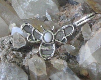 Stirling Silver Bumble Bee Pendant with a White Opal.Bumble Bee Charm.Wildlife Jewelry.White Opal Charm.Organic Texture.