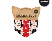 CNY GOOOD Cat Collar | Cool Scarf - Triple Fortune Cats | 100% Cats & Red Cotton Fabric | Safety Breakaway Buckle