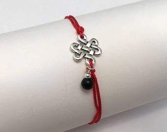 Obsidian Sterling Silver Charm Bracelet, Couples His and Her Bracelet, Red Silk String Bracelet, Scottish Celtic Infinity Love Knot Pendant