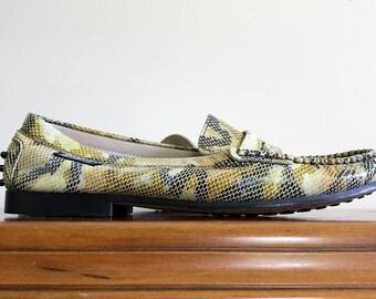 NWOT 80s Betty Barclay snake print studded penny loafers US 9 / UK 7