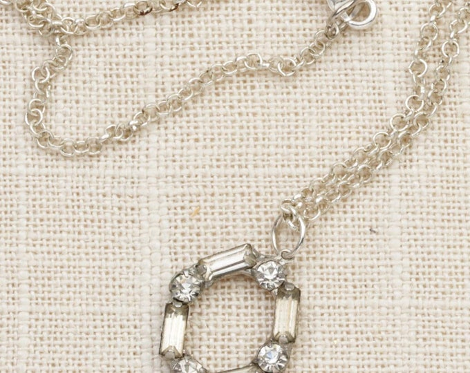 Rhinestone Oval Necklace Vintage Silver Mod Letter O Chain Costume Jewelry 7L
