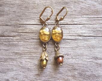 Woodland Flora Assemblage Earrings / Vintage Repurposed Jewelry / Mori Girl / OOAK