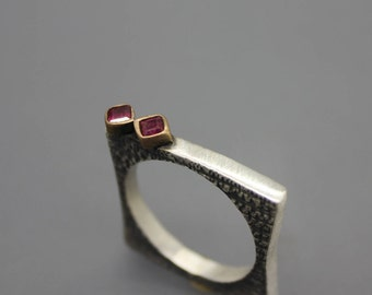 Square Ring, Ruby Ring, Unique Ring, Stack Ring, July Ring, July Birthstone, Ruby Jewelry, Silver Ring, Sterling Ring, Freeform Ring