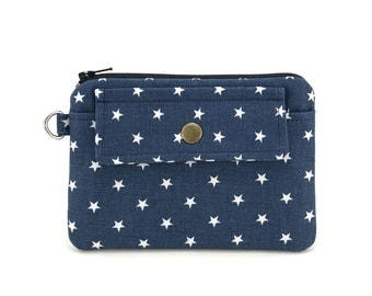Star Pouch - Coin Purse - Zipper Pouch - Snap Wallet - Keychain Pouch - Gift ideas - Padded Pouch - Dark Dusty Blue